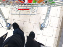 View of a shopping cart at supermarket Stock Image
