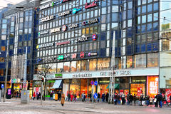 View of the shopping street in Helsinki Stock Photos