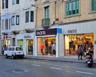 View of the shopping street in Sliema city, Malta Stock Photography