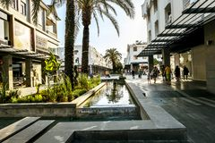 View of the shopping tourist street in Kemer in Turkey royalty free stock photo