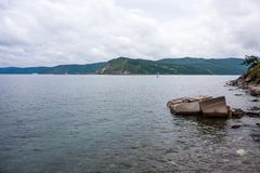 The view from the shore of lake Baikal stock photos