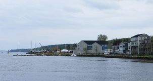 View by the shore of Mahone Bay in Nova Scotia 4K stock video footage