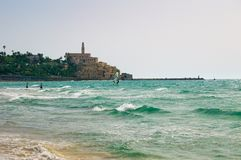 View from the shore of the Mediterranean Sea on Old Jaffa, Tel Aviv, Israel. royalty free stock photos