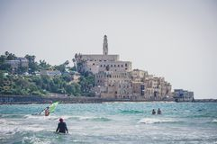 View from the shore of the Mediterranean Sea on Old Jaffa, Tel Aviv, Israel. stock photos
