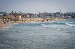 View from the shore of the Mediterranean Sea on Old Jaffa, Tel Aviv, Israel. royalty free stock photography