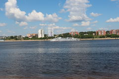 The view from the shore. Right Bank of the Kama river Stock Photos