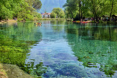 View from the shore of the River Grassano, Italy. Royalty Free Stock Photo