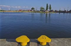 View from the shore of the river Odra, Szczecin, Poland, Europe Royalty Free Stock Photos