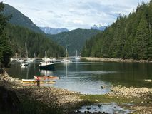 A view from the shore in Roscoe Bay, in Desolation Sound, Britis. H Columbia, Canada royalty free stock photography