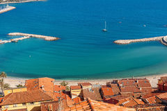 View of shoreline and red roofs. Royalty Free Stock Images