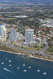 View of the shoreline and Surfers Paradise in Gold Coast Stock Images