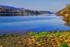 "A view from the shores of the Lake "" Pancharevo "". To Sofia, Bulgaria stock photos"