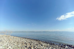 View of the shores of the Sea of Galilee near the Capernaum Royalty Free Stock Photography