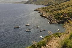 Zingaro Nature Reserve with boats, yachts near the coast. stock images