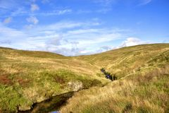 Moorland Landscape of West Central Scotland. View, showing a burn traversing the scenic moorland hill landscape of north Ayrshire, west central Scotland royalty free stock photos