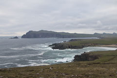 View showing headlands and shoreline on Dingle Peninsula Stock Images