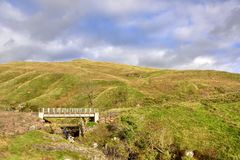 Moorland Landscape of West Central Scotland. View, showing the new and old bridges across the Greeto burn, part of the scenic and picturesque moorland landscape stock photo