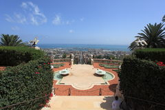 View from Shrine of the Bab to Haifa Port Royalty Free Stock Photo