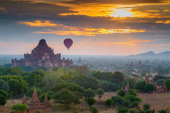 View from the Shwe Sandaw Pagoda during sunrise Stock Photo