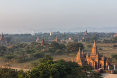 View from the Shwe Sandaw Pagoda during sunset in Bagan, Myanmar Royalty Free Stock Photos