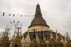 View of Shwedagon Pagoda, Yangon, Myanmar. View of the Shwedagon Pagoda, with its temples and golden pagoda. In the city of Yangon, Rangun, Myanmar royalty free stock photo