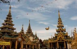 View of Shwedagon Pagoda, Yangon, Myanmar. View of the Shwedagon Pagoda, with its temples and golden pagoda. In the city of Yangon, Rangun, Myanmar stock photo