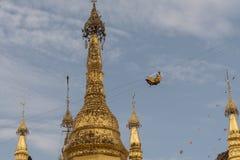 View of Shwedagon Pagoda, Yangon, Myanmar. View of the Shwedagon Pagoda, with its temples and golden pagoda. In the city of Yangon, Rangun, Myanmar stock images