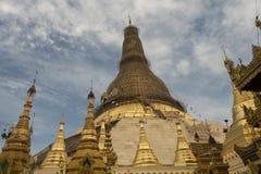 View of Shwedagon Pagoda, Yangon, Myanmar. View of the Shwedagon Pagoda, with its temples and golden pagoda. In the city of Yangon, Rangun, Myanmar stock photos
