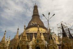 View of Shwedagon Pagoda, Yangon, Myanmar. View of the Shwedagon Pagoda, with its temples and golden pagoda. In the city of Yangon, Rangun, Myanmar stock image
