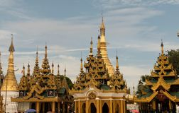View of Shwedagon Pagoda, Yangon, Myanmar. View of the Shwedagon Pagoda, with its temples and golden pagoda. In the city of Yangon, Rangun, Myanmar stock photography