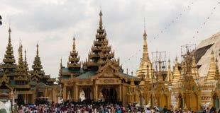 View of Shwedagon Pagoda, Yangon, Myanmar. View of the Shwedagon Pagoda, with its temples and golden pagoda. In the city of Yangon, Rangun, Myanmar royalty free stock image