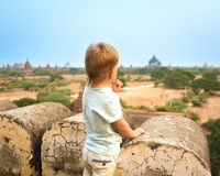 View from the Shwesandaw pagoda. Stock Photo