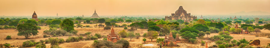 View from the Shwesandaw pagoda. Panorama Royalty Free Stock Photos