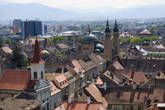 View of Sibiu. View of the orthodox church  from Sibiu,Romania-The European Cultural Capital in 2007.View if from Evangelical Cathedral tower , the highest place Stock Images