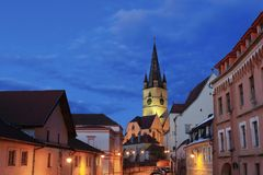 Sibiu Lutheran Cathedral View stock photography