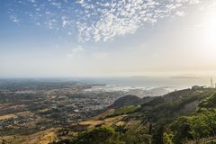 View of the Sicilian coast from Erice, Sicily, Italy Royalty Free Stock Photography