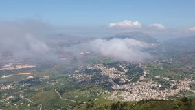 View of the Sicilian coast from mount Erice, Italy. Panoramic view of the Sicilian coast from mount Erice. The province of Trapani in Sicily, Italy stock video footage