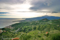 View of the sicilian countryside with mount Etna Stock Photo
