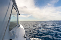 View from side of the boat. View from the side of the boat at sky and sea Stock Photos