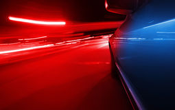 View from Side of Car Going Blurred Motion. Speedy driving by night. Police Car chase Stock Photography