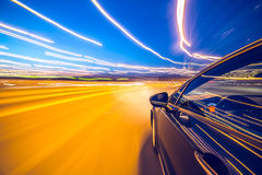 View from Side of Car moving in a night city Royalty Free Stock Photos
