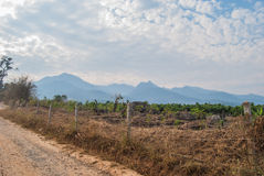 View side gravel road on Pai in Maehongson Thailand Stock Photos