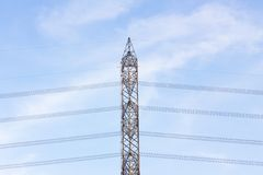 View side of high voltage poles in blue sky Royalty Free Stock Image