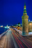 Kremlin street at night. View of the side street of the Kremlin and the Moskva River in Moscow, Russia Stock Images