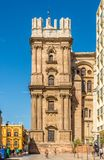 View of the side tower of the cathedral in Malaga - Spain Royalty Free Stock Photo
