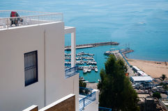 View from Sidi Bou Said to the Marina Harbour Royalty Free Stock Photo