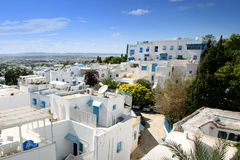 View of Sidi Bou Said. A view of the town from the highest terrace of El Annabi house in Sidi Bou Said,Tunisia. Sidi Bou Said is a town in northern Tunisia known Stock Images