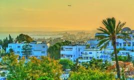 View of Sidi Bou Said, a town near Tunis, Tunisia royalty free stock images