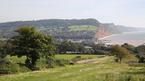 View of Sidmouth coast Devon England UK stock video