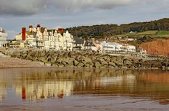 View of Sidmouth Esplanade taken from the sea royalty free stock images